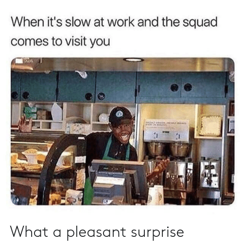 Squad, Work, and You: When it's slow at work and the squad  comes to visit you What a pleasant surprise