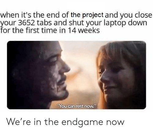 """Laptop, Time, and Rest: when it's the end of the project and you close  your 3652 tabs and shut your laptop down  for the first time in 14 weeks  You can rest now."""" We're in the endgame now"""