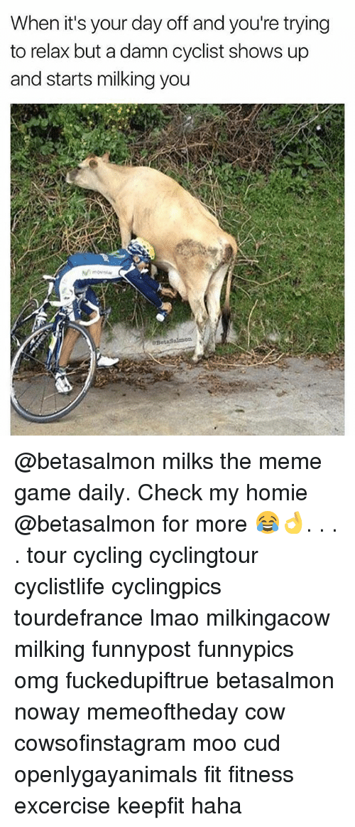Meme Games: When it's your day off and you're trying  to relax but a damn cyclist shows up  and starts milking you @betasalmon milks the meme game daily. Check my homie @betasalmon for more 😂👌. . . . tour cycling cyclingtour cyclistlife cyclingpics tourdefrance lmao milkingacow milking funnypost funnypics omg fuckedupiftrue betasalmon noway memeoftheday cow cowsofinstagram moo cud openlygayanimals fit fitness excercise keepfit haha