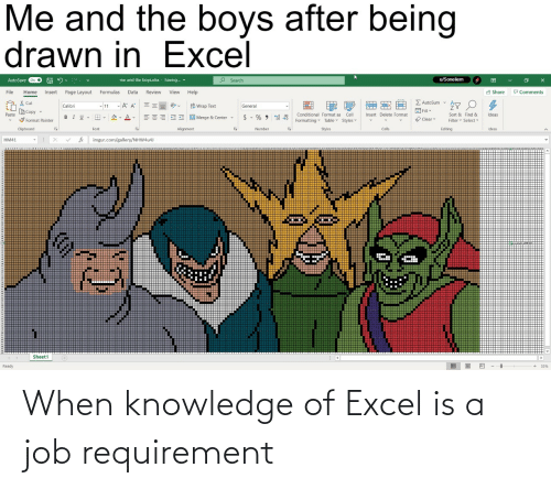Is A: When knowledge of Excel is a job requirement