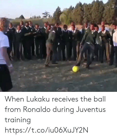 Soccer, Juventus, and Ronaldo: When Lukaku receives the ball from Ronaldo during Juventus training https://t.co/iu06XuJY2N