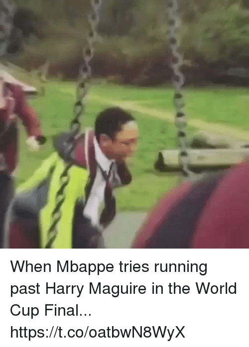 Soccer, World Cup, and World: When Mbappe tries running past Harry Maguire in the World Cup Final... https://t.co/oatbwN8WyX