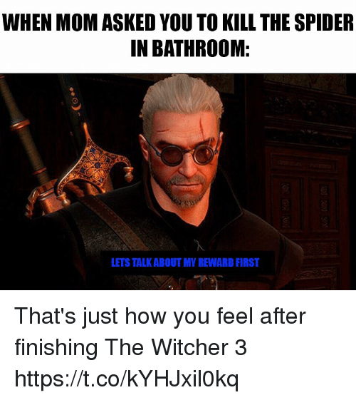 the witcher: WHEN MOM ASKED YOU TO KILL THE SPIDER  IN BATHROOM:  LETS TALK ABOUT MY REWARD FIRST That's just how you feel after finishing The Witcher 3 https://t.co/kYHJxil0kq