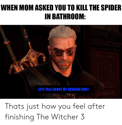the witcher: WHEN MOM ASKED YOU TO KILL THE SPIDER  IN BATHROOM:  LETS TALK ABOUT MY REWARD FIRST Thats just how you feel after finishing The Witcher 3