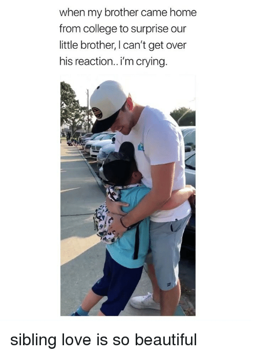 Beautiful, College, and Crying: when my brother came home  from college to surprise our  little brother, I can't get over  his reaction.. i'm crying. sibling love is so beautiful