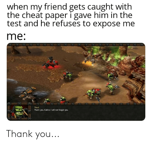 thrall: when my friend gets caught with  the cheat paper i gave him in the  test and he refuses to expose me  me:  Thrall  Thank you, Cairne. I will not forget you. Thank you...