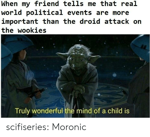 wookies: When my friend tells me that real  world political events are more  important than the droid attack on  the wookies  Truly wonderful the mind of a child is scifiseries:  Moronic