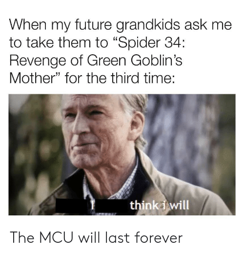 """Grandkids: When my future grandkids ask me  to take them to """"Spider 34:  Revenge of Green Goblin's  Mother"""" for the third time:  think i will The MCU will last forever"""