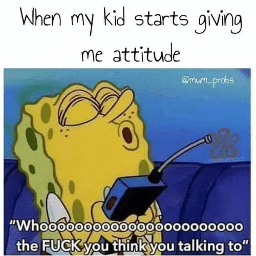 "Dank, Fuck You, and Fuck: when my kid starts giving  me attitude  @mum_probs  ""Whoo0000oo0000o00000oooo  the FucK you thinkyou talking to"""