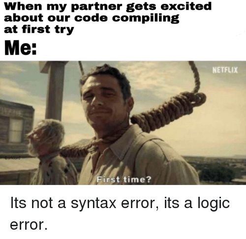 Syntax Error: When my partner gets excited  about our code compiling  at first try  Me:  NETFLIX  First time? Its not a syntax error, its a logic error.