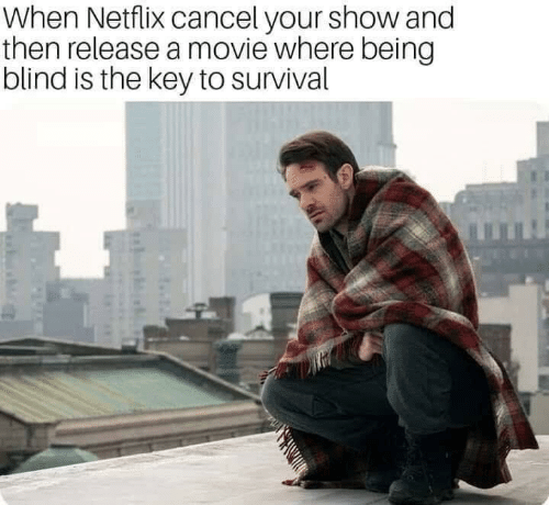 Netflix, Movie, and Key: When Netflix cancel your show and  then release a movie where being  blind is the key to survival