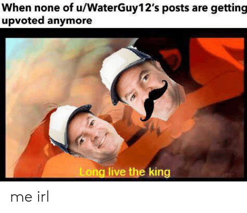 Live, Long Live, and Irl: When none of u/WaterGuy12's posts are getting  upvoted anymore  Long live the king me irl