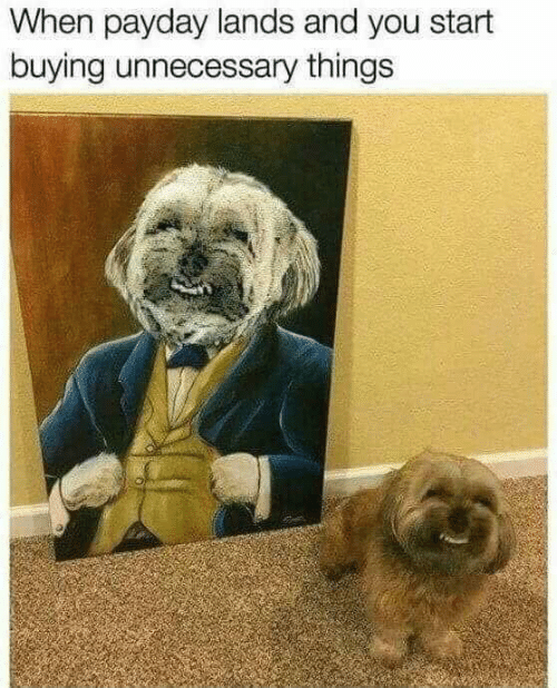 Memes, 🤖, and Payday: When payday lands and you start  buying unnecessary things