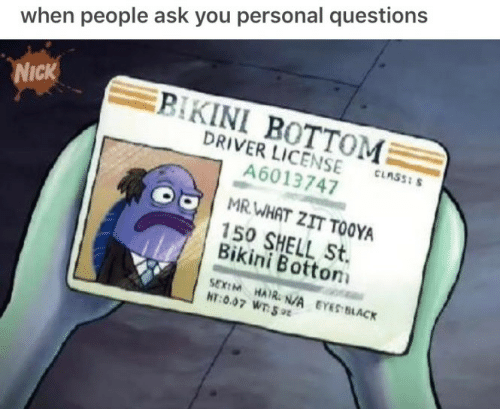 Bikini Bottom, Bikini, and Black: when people ask you personal questions  BIKINI BOTTOM  DRIVER LICENSE  A6013747  NICK  CLASS: S  MRWHAT ZIT TOOYA  150 SHELL St.  Bikini Bottom  SEXIM HAIR. N/A EYES BLACK  HT:0.07 WT 9