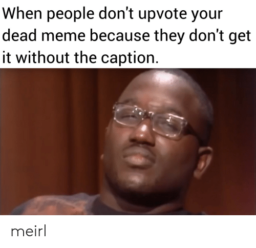Meme, MeIRL, and They: When people don't upvote your  dead meme because they don't get  it without the caption meirl