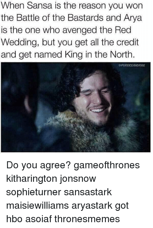 Red Wedding: When Sansa is the reason you won  the Battle of the Bastards and Arya  is the one who avenged the Red  Wedding, but you get all the credit  and get named King in the North.  SPUREICEANDFIRE Do you agree? gameofthrones kitharington jonsnow sophieturner sansastark maisiewilliams aryastark got hbo asoiaf thronesmemes