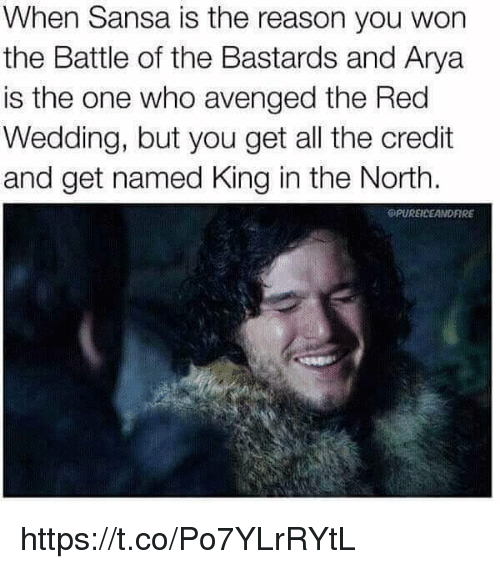 Red Wedding: When Sansa is the reason you won  the Battle of the Bastards and Arya  is the one who avenged the Red  Wedding, but you get all the credit  and get named King in the North.  OPUREICEANDFIRE https://t.co/Po7YLrRYtL