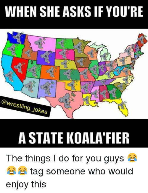 Memes, 🤖, and Who: WHEN SHE ASKS IF YOU'RE  @wrestling jokes  A STATE KOALA FIER The things I do for you guys 😂😂😂 tag someone who would enjoy this