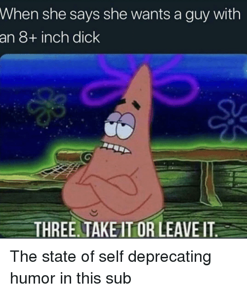 deprecating: When she says she wants a guy with  an 8+ inch dick  THREE. TAKE IT OR LEAVE IT The state of self deprecating humor in this sub