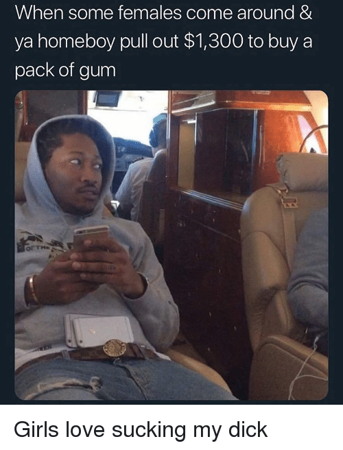 Homeboy: When some females come around &  ya homeboy pull out $1,300 to buy a  pack of gum  or The Girls love sucking my dick