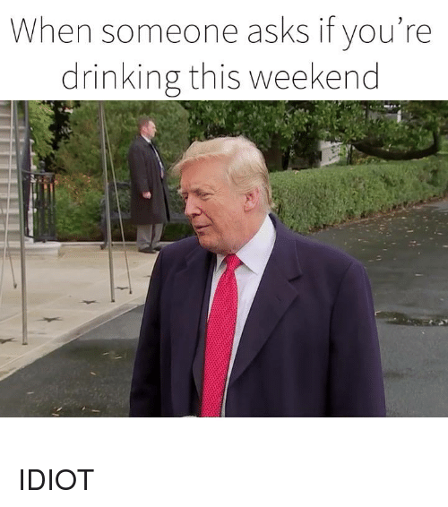 Dank, Drinking, and Idiot: When someone asks if you're  drinking this weekend IDIOT