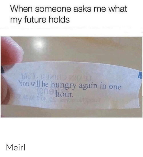 Future, Hungry, and MeIRL: When someone asks me what  my future holds  bloda1  You will be hungry again in one  onehour. Meirl