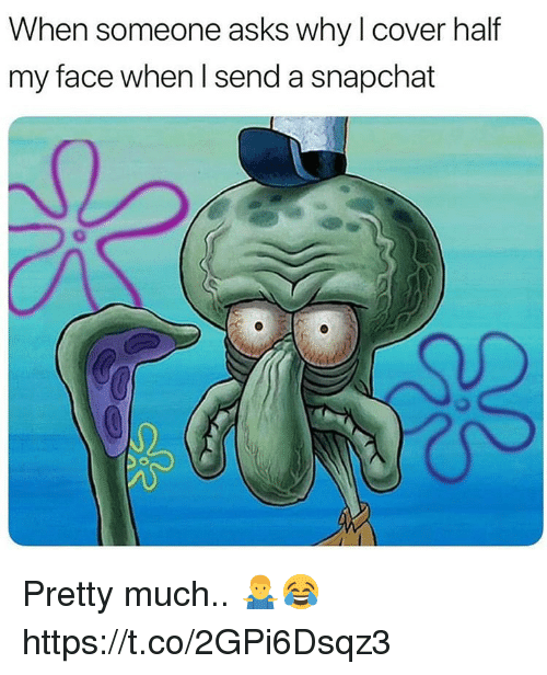 Snapchat, My Face When, and Asks: When someone asks why l cover half  my face when l send a snapchat Pretty much.. 🤷♂️😂 https://t.co/2GPi6Dsqz3