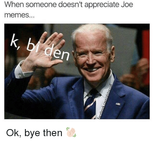 Joe Meme: When someone doesn't appreciate Joe  memes.  en Ok, bye then 👋🏻