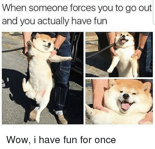 Wow, Fun, and Once: When someone forces you to go out  and you actually have fun Wow, i have fun for once