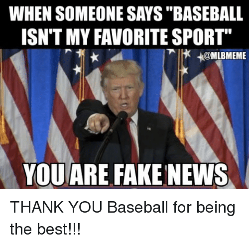 "Baseballisms: WHEN SOMEONE SAYS ""BASEBALL  ISN'T MY FAVORITE SPORT""  x +@MLBMEME  YOU ARE FAKE NEWS THANK YOU Baseball for being the best!!!"