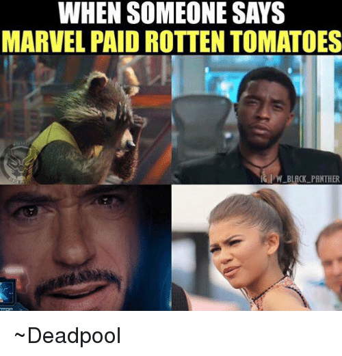 Rotten Tomatoes: WHEN SOMEONE SAYS  MARVEL PAID ROTTEN TOMATOES  BLACK PANTHER ~Deadpool