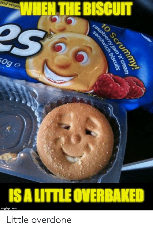 biscuit: WHEN THE BISCUIT  ge  ti  ISA LITTLE OVERBAKED Little overdone