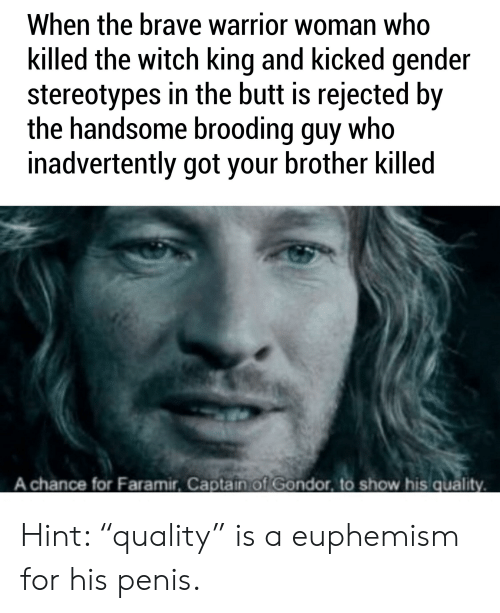 """Euphemism: When the brave warrior woman who  killed the witch king and kicked gender  stereotypes in the butt is rejected by  the handsome brooding guy who  inadvertently got your brother killed  A chance for Faramir, Captain of Gondor, to show his quality Hint: """"quality"""" is a euphemism for his penis."""