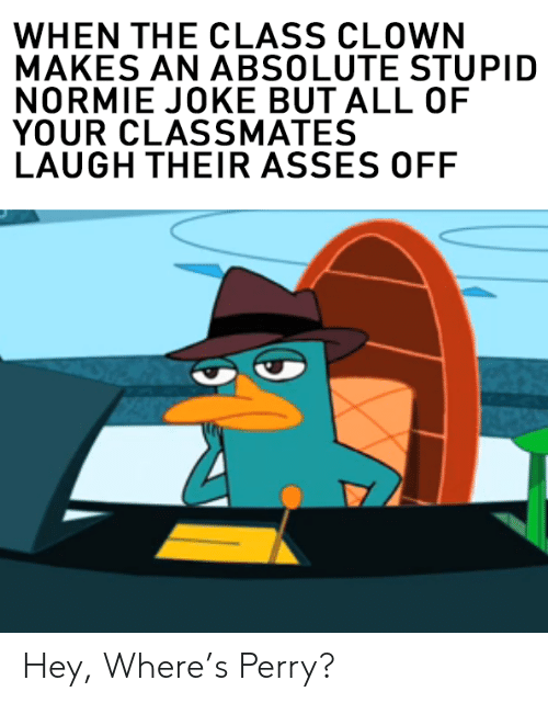 Normie, Asses, and Class: WHEN THE CLASS CLOWN  MAKES AN ABSOLUTE STUPID  NORMIE JOKE BUT ALL OF  YOUR CLASSMATES  LAUGH THEIR ASSES OFF Hey, Where's Perry?