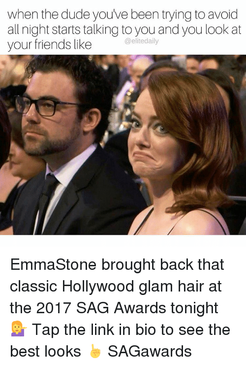 emmastone: when the dude you've been trying to avoid  all night starts talking to you and you look at  @elite daily  your friends like EmmaStone brought back that classic Hollywood glam hair at the 2017 SAG Awards tonight 💁 Tap the link in bio to see the best looks ☝️️ SAGawards