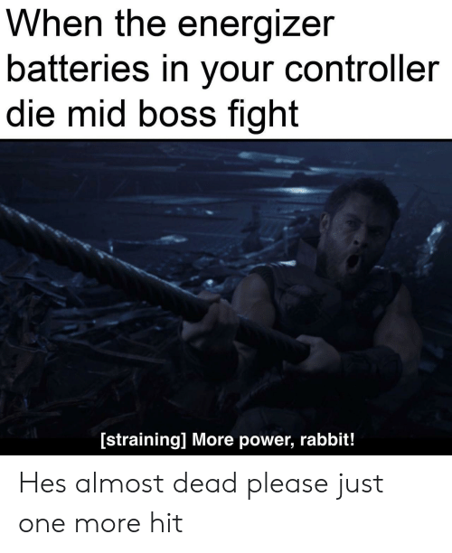controller: When the energizer  batteries in your controller  die mid boss fight  [straining] More power, rabbit! Hes almost dead please just one more hit