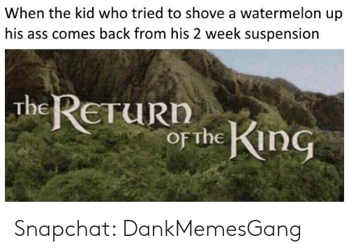 suspension: When the kid who tried to shove a watermelon up  comes back from his 2 week suspension  The ReTuRD  oF The in Snapchat: DankMemesGang