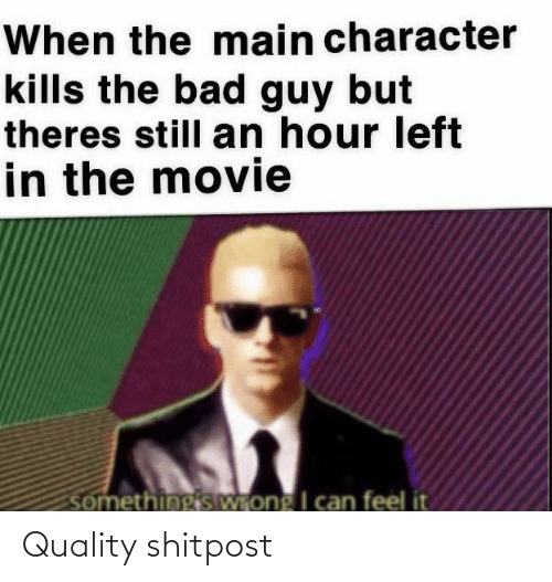Shitpost: When the main character  kills the bad guy but  theres still an hour left  in the movie  somethingis Wrong I can feel it Quality shitpost