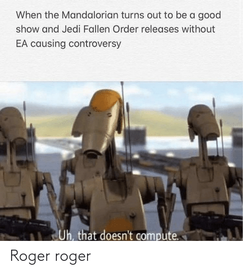 fallen: When the Mandalorian turns out to be a good  show and Jedi Fallen Order releases without  EA causing controversy  Uh, that doesn't compute Roger roger