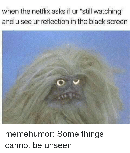 "Netflix, Tumblr, and Black: when the netflix asks if ur ""still watching""  and u see ur reflection in the black screen memehumor:  Some things cannot be unseen"