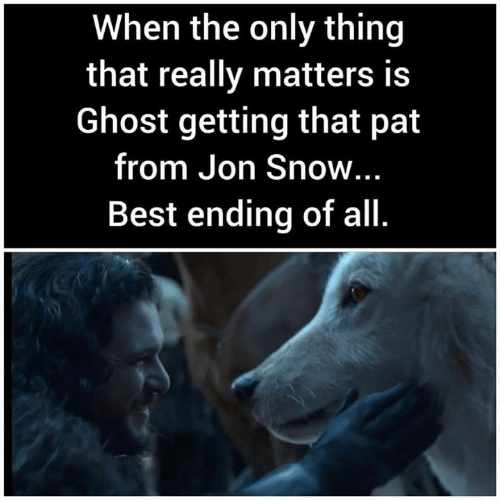 Jon Snow: When the only thing  that really matters is  Ghost getting that pat  from Jon Snow...  Best ending of all