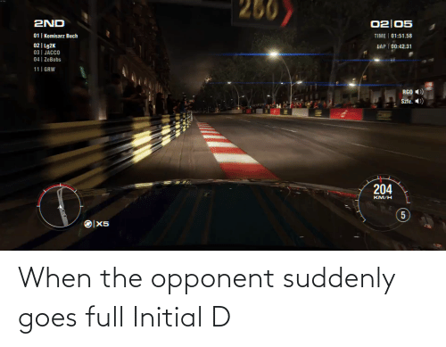 suddenly: When the opponent suddenly goes full Initial D