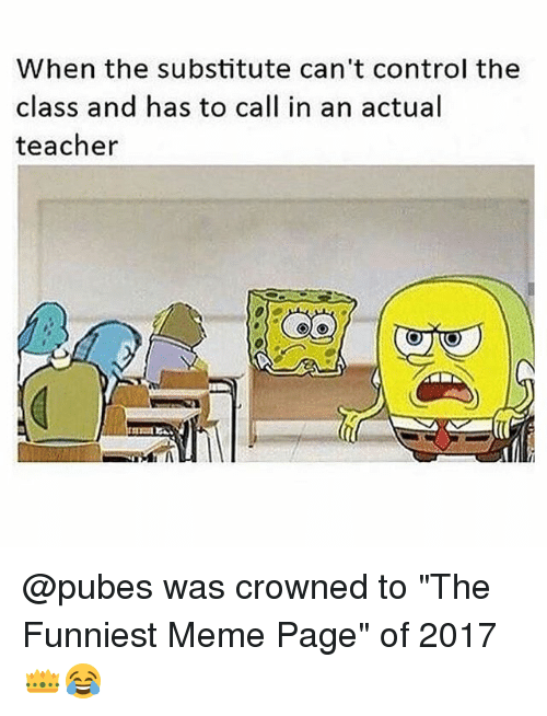"Meme, Memes, and Teacher: When the substitute can't control the  class and has to call in an actual  teacher @pubes was crowned to ""The Funniest Meme Page"" of 2017 👑😂"