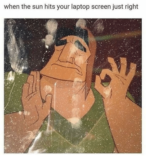 Laptop, Sun, and The Sun: when the sun hits your laptop screen just right