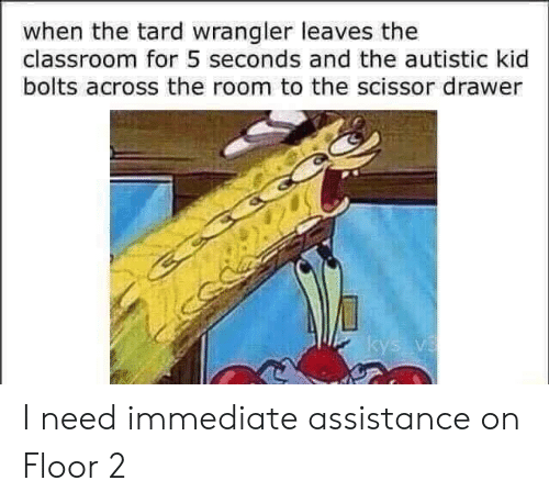 tard: when the tard wrangler leaves the  classroom for 5 seconds and the autistic kid  bolts across the room to the scissor drawer I need immediate assistance on Floor 2