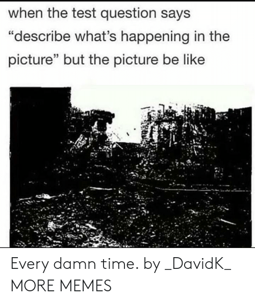 "Be Like, Dank, and Memes: when the test question says  ""describe what's happening in the  picture"" but the picture be like Every damn time. by _DavidK_ MORE MEMES"