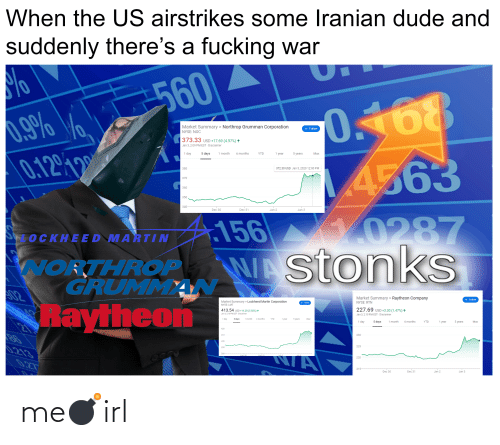 Nyse: When the US airstrikes some Iranian dude and  suddenly there's a fucking war  560  0.168  4563  Market Summary > Northrop Grumman Corporation  + Follow  NYSE: NOC  373.33 USD +17.69 (4.97%) ↑  Jan 3, 2:09 PM EST · Disclaimer  1 day  1 month  5 days  1 year  6 months  YTD  5 years  Max  0.1299  372.30 USD Jan 3, 2020 12:00 PM  380  370  360  350  340-  Dec 30  Dec 31  Jan 2  Jan 3  156 0287  WAstonkS  OCKHEED MARTIN  WORTHROP  GRUMMAN  S02  Market Summary > Raytheon Company  + Follow  Market Summary > Lockheed Martin Corporation  NYSE: LMT  NYSE: RTN  Raytheon  + Follow  227.69 USD +3.30 (1.47%) ↑  413,54 usp +14.28 (3.58%) ↑  Jan 3, 2:10 PM EST - Disclaimer  Jan 3, 2:10 PM EST · Disclaimer  1 day  5 days  1 month  6 months  1 year  YTD  5 years  Max  6 months  1 day  1 month  5 days  1 year  121  YTD  5 years  Мах  420  230  410  0.213  225  380-  220  027  215-  Dec 31  Dec 30  Jan 2  Jan 3 me💣irl