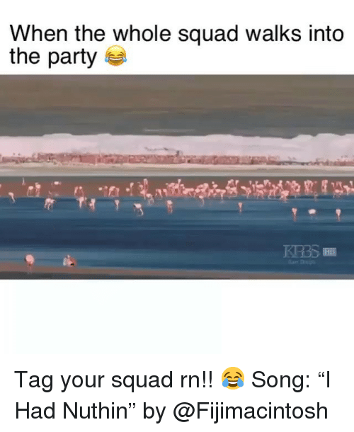 """Funny, Party, and Squad: When the whole squad walks into  the party Tag your squad rn!! 😂 Song: """"I Had Nuthin"""" by @Fijimacintosh"""