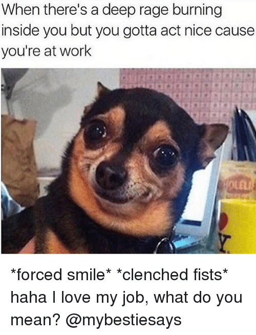 Love My Job: When there's a deep rage burning  inside you but you gotta act nice cause  you're at work *forced smile* *clenched fists* haha I love my job, what do you mean? @mybestiesays