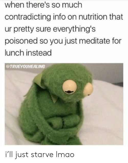 Lmao, You, and For: when there's so much  contradicting info on nutrition that  ur pretty sure everything's  poisoned so you just meditate for  lunch instead  @TRUEYOUHEALING i'll just starve lmao